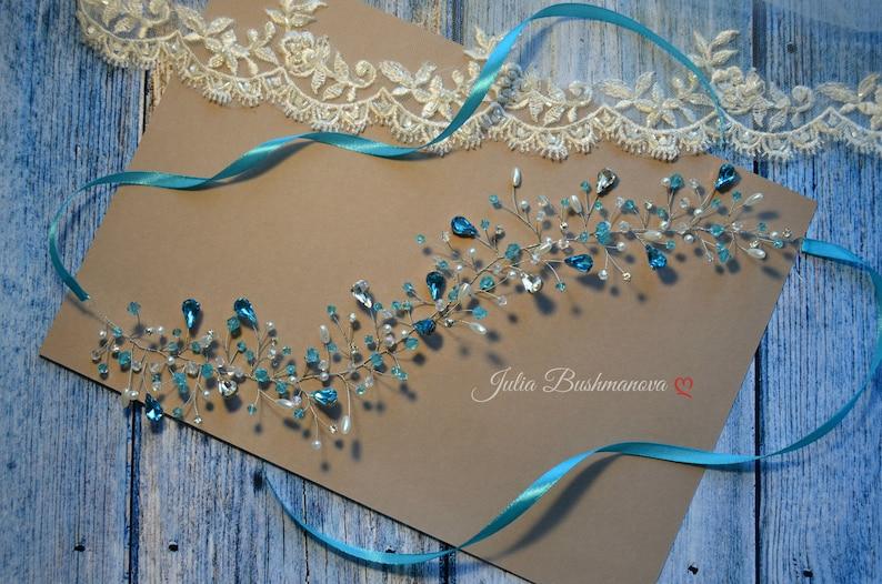 Bridal hair piece blue Bridal hair vine blue Hair vine blue Wedding headpiece blue branch blue Aquamarine halo Aquamarine hair vine