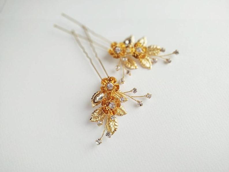 Wedding flower hair piece bridal floral hairpiece Bridal set hair pins gold Gold leaf hair pin Bridesmaid hair pin Floral hair pin gold