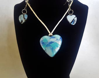 Pastel Blue Heart Pendant and Matching Earrings