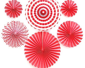 Hanging Paper Fans 8Pcs Red Circular Handmade Party Fan for Birthday Wedding School Event Decoration