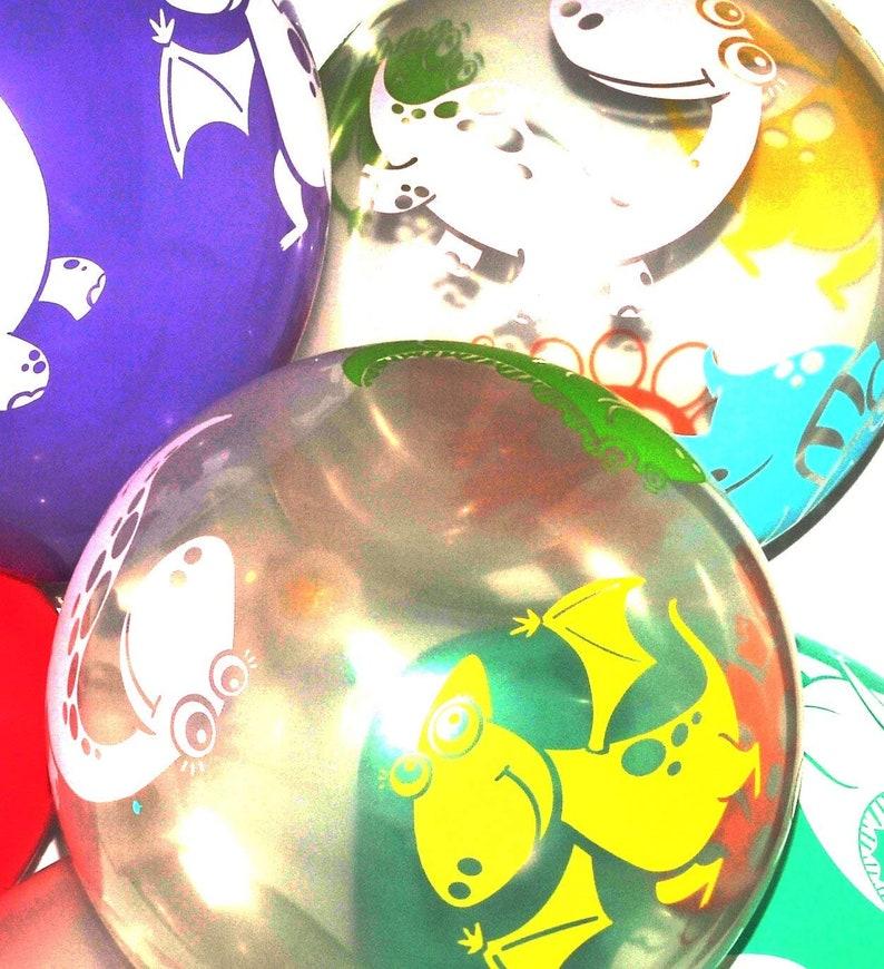 Dino Party Decor 12 Latex Balloons 10 Pack of Transparent Dinosaur Balloons See Through Rainbow Balloons Kids Birthday Decorations