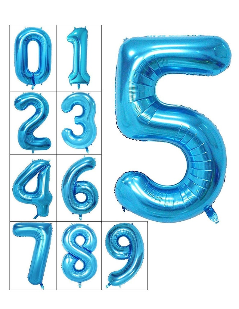 40 Inch Number 5 Foil Balloon Quality Metallic Blue Mylar