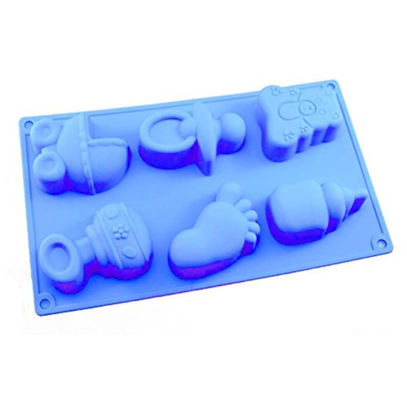 Blue Baby Related Cavity Cake Ice Soap Mould Non Stick Silicone Baby Shower Cooking Tray Party Baking Mould 1st Birthday Baking Tray