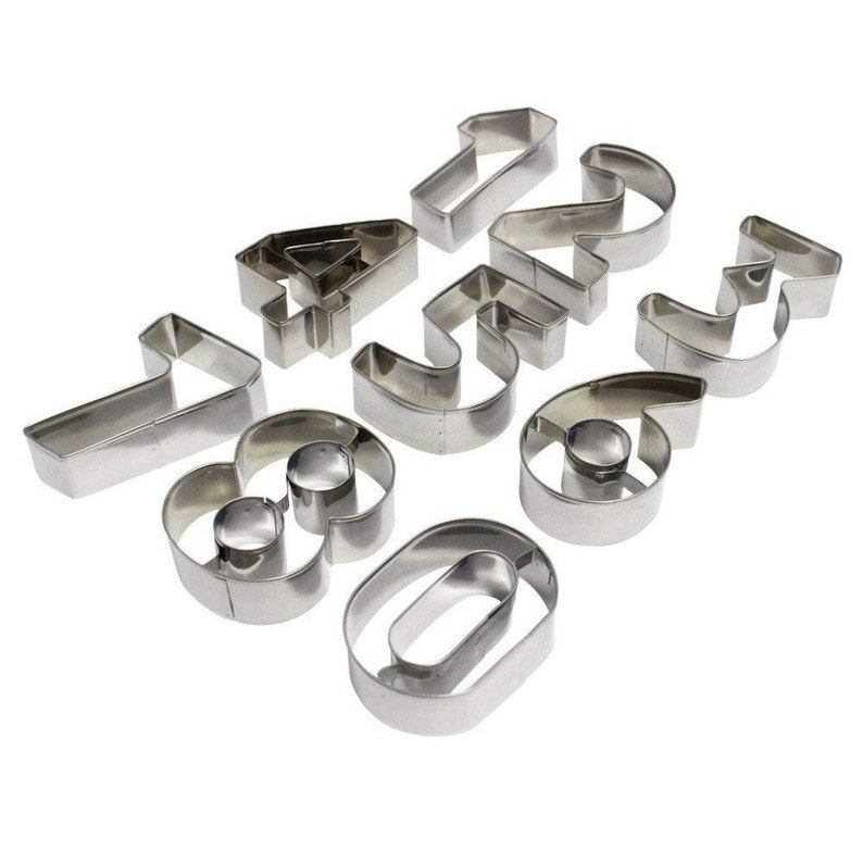 Stainless Steel Number Shape Cookie Cutter Stampers Number Mould Set Party Kitchenware Cooking Utensils Biscuit Stampers Number Molds 0-9