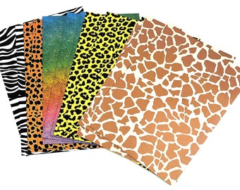 15 Sheets of A4 Safari Animal Print Card DIY Kids Party Craft Supplies Child Fun (3 of Each Print-Zebra, Giraffe, Leopard, Cheetah, Lizard)