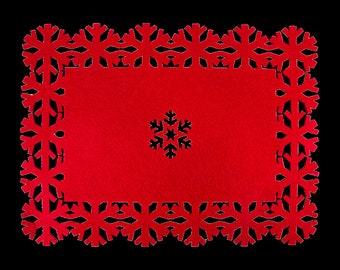 1x Felt Snowflake Table Placemat Christmas Celebration Decoration Festive Home Decorations Christmas Table Decor Festive Table Mat Tableware