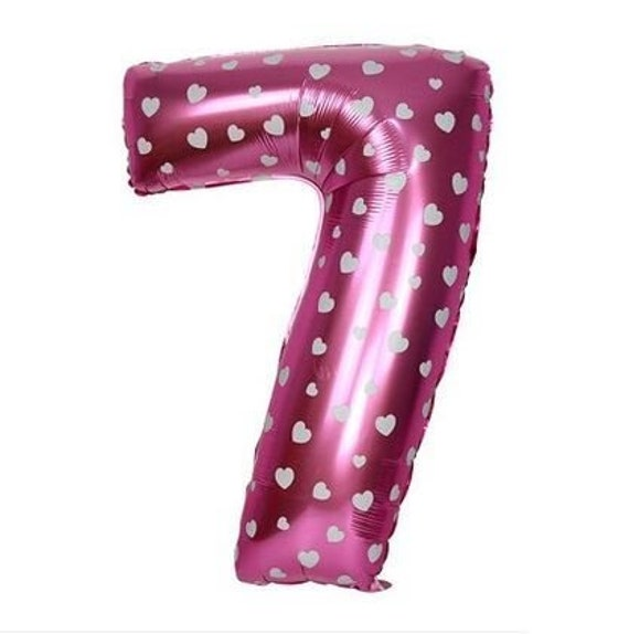 40 Inch Pink Large Numbers Balloons 0-9,Number 7 Digit Helium Balloons,Foil Mylar Big Number Balloons for Birthday Party Supplies Decorations