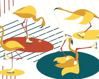 Ice Skating Flamingos Digital Print-A4
