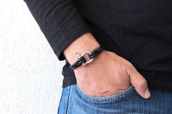Customizable Leather Nautical Shackle Bracelet