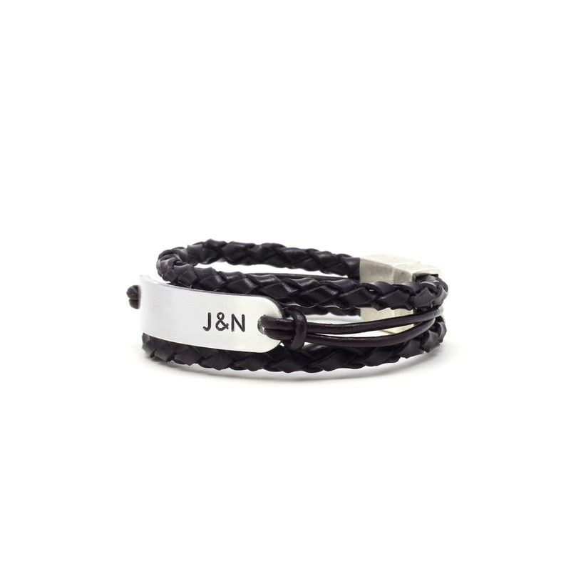 Anniversary Gift Personalized Leather Bracelet Couples Jewelry Gift For Couples Custom Initial Couples Bracelet Boyfriend Bracelet