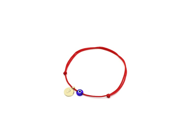 Red String Kabbalah Bracelet Personalized Evil Eye Bracelet Gold Initial Bracelet with Navy Blue Evil Eye Evil Eye Jewelry