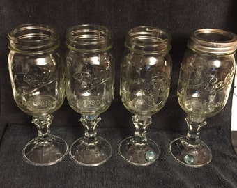 Ball Mason Pedastal Glass Canning Jar - Set of Four