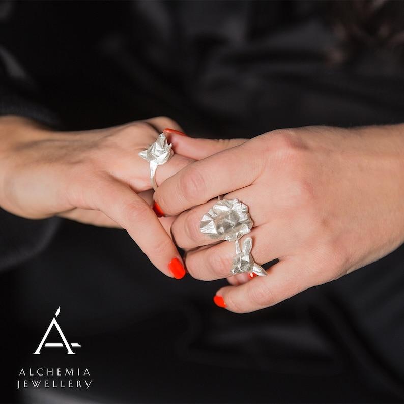 Deer silver ring