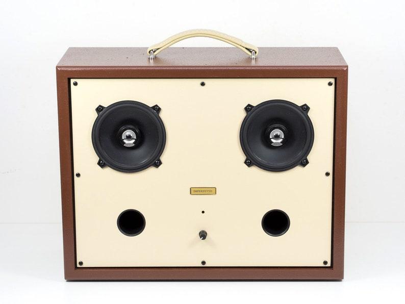 Speaker Bluetooth Boombox USB microSD FM radio vintage design Hi-Fi  handmade audio music