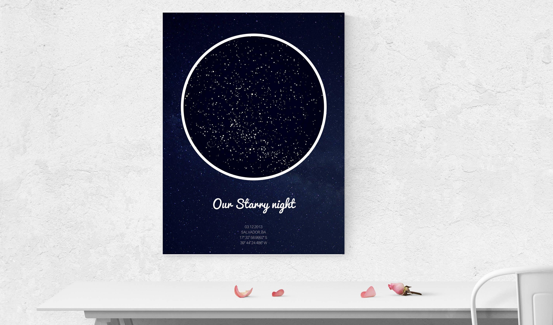 Birthday Star Map.Atimeandplace Custom Star Map Digital Purchase Night Sky Map Etsy