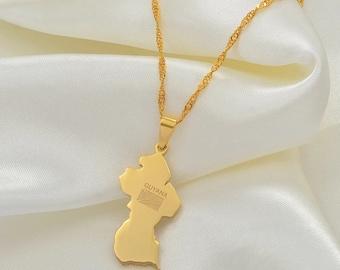 18K Gold Plated Guyana Necklace guyana tshirt guyana flag guyana keychain guyana map guyana poster
