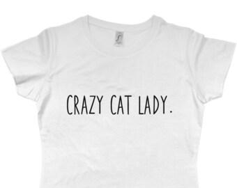 c62ba744c Crazy Cat Lady White T-shirt Cute White Tee Cat Lover Cat Clothing Cat T- shirt Kitten Animal Funny T-shirt Cute Kawaii Slogan Tee