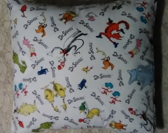 """Novelty Colorful Dr. Seuss Cotton Fabric Yellow Pillow Cover 16"""""""