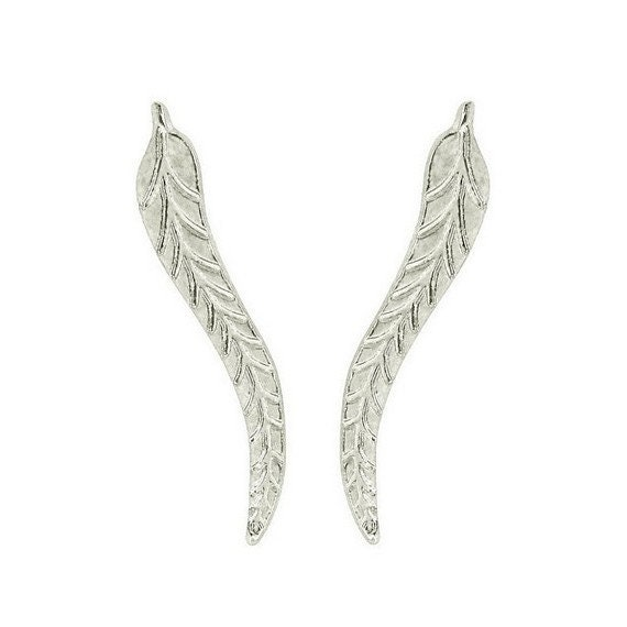 925 Sterling Silver Leaf Small Crawlers Sweep Up Earrings