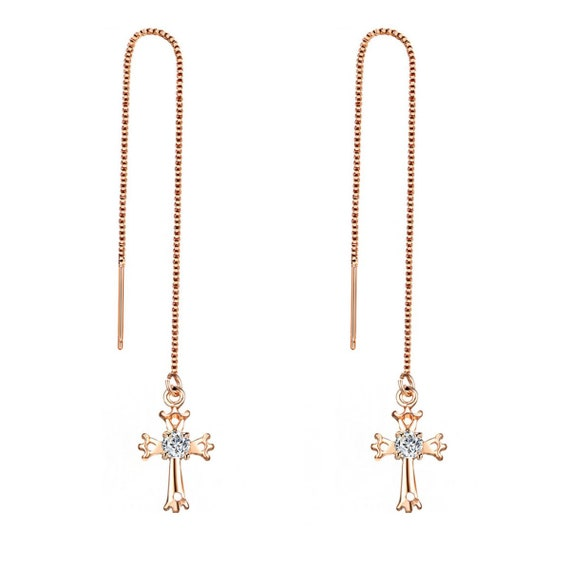 Cross style threader earring silver with zirconia long cross Drop Chain