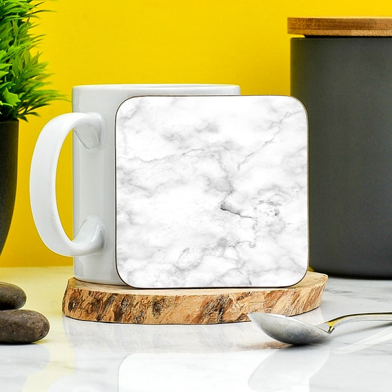 White Marble Coaster Home Gifts House Ware Present New Etsy