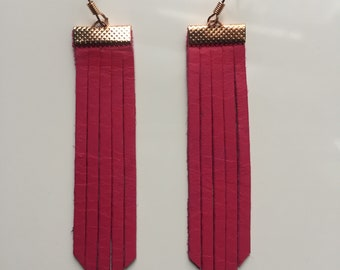 Hot pink fringe leatherback earrings