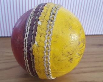d22f086b269 Vintage Cricket Ball, Slazenger Crown, Match Quality Ball, 6 stitch, yellow  and red training leather cricket ball, sports collectable