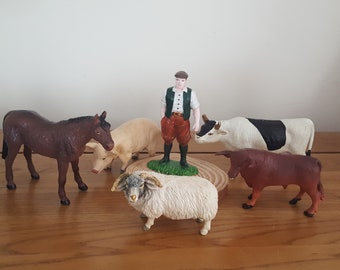 Toys & Hobbies Action Figures zoo Plastic Farm Animals Toy Model Figures Cow Bull Goat Sheep Horse Donkey