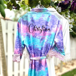 Flamingo Robes Wedding Robes Personalized Bridesmaids Robes Lace Bridal Robes Bachelorette Robe R125 Silk Robes Beach Wedding