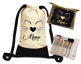 Meow Makeup Bag Mom Of Cats Brushes Cat Lovers Birthday Gift Ideas Backpack