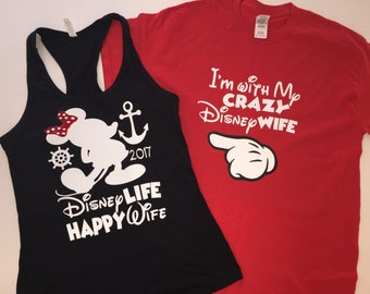 c37816e160 Couples Matching Shirts, Happy Wife , Funny Shirts, Birthday Tees, Family  Matching Shirts