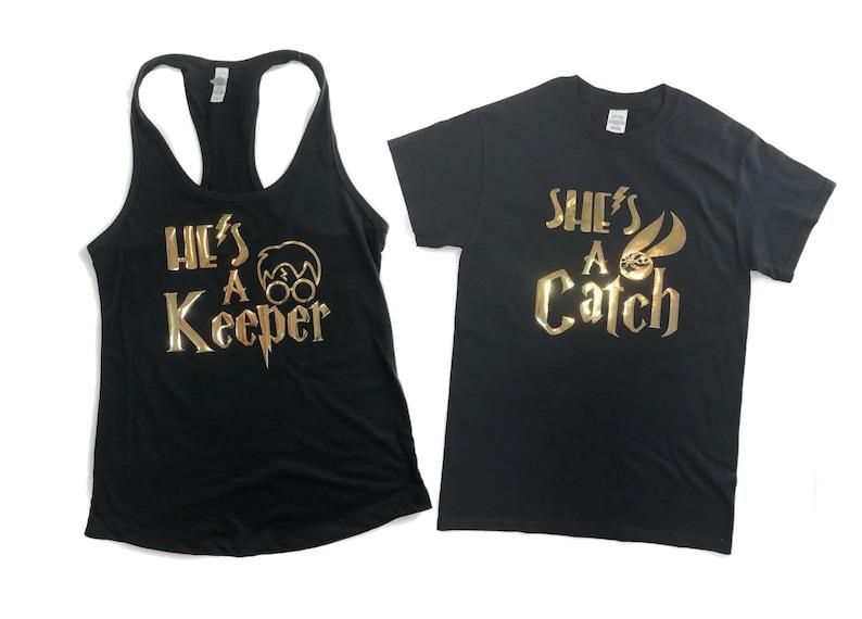 She Is A Catch He Keeper Husband And Wife Shirts