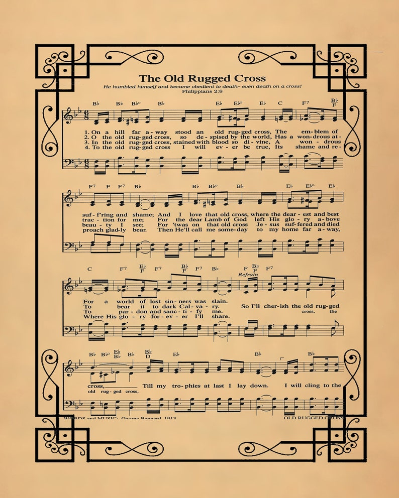 graphic regarding Old Rugged Cross Printable Sheet Music named The Aged Rugged Cross Typical Hymn-Himns-Wall Artwork Print,Biblical Sheet New music Print,church,Poster wall Artwork,Residence Decor-hymns-hymns