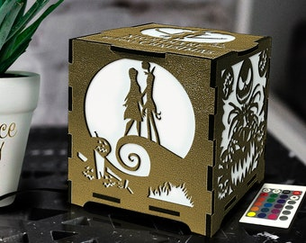 Nightmare Party, Jack and Sally decor, The Nightmare light box, Best Birthday gift for girlfriend, Jack Skellington light box