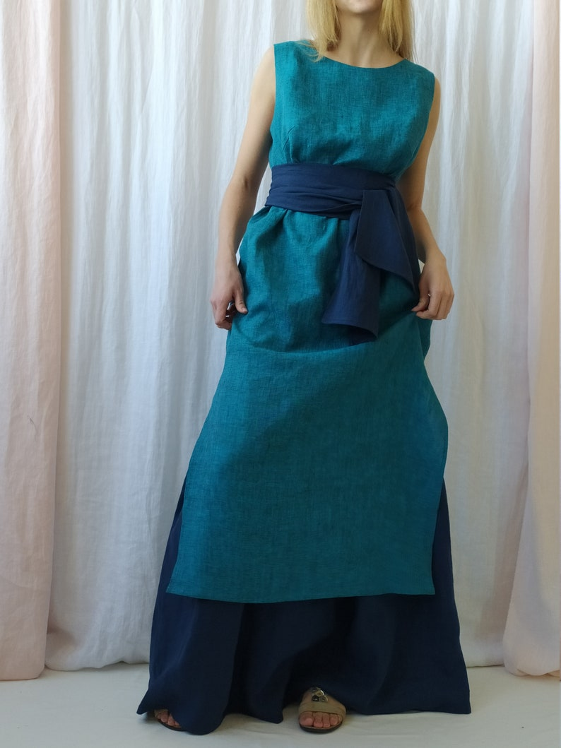 Maxi Linen SkirtLinen Skirt with PocketsLong Linen SkirtHigh Waist Linen SkirtLinen Blue SkirtLinen ClothingPlus Size LinenBoho Linen