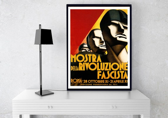 Vintage Italian Fascist Revolution Propaganda Poster Art Print A3