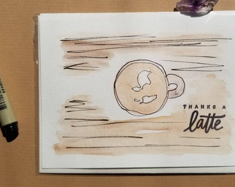 Watercolor Thanks a Latte Card