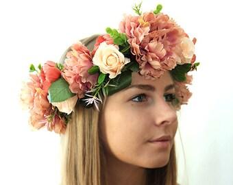 577d55a25b027 Vintage Blumen Krone für große Hochzeitsblumen Tiara für Hochzeit Blumen  Kranz besten Verkäufer Haar-Accessoires für Frauen floralen Kopfschmuck Boho