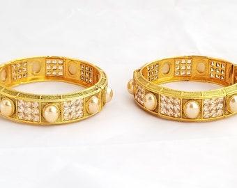 Gold Pink Crown Kangans Bangles Kadda