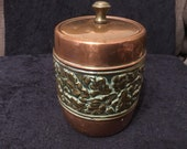 Rare Vintage Lintons Copper and Brass Tea Caddy Tobacco jar