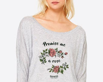 Floral Print Women's Long Sleeve Tee | Roses Tattoo Style T-shirt