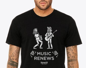 Music Band Tattoo Style Men's T-shirt | Skeletons with Guitar and Saxophone Jazz T-shirt