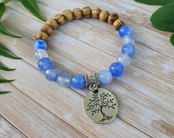 Blue and Coral Bracelet Quartzite gemstone healing crystal jewellery summer boho festival jewellery unisex gift vegan eco bracelet