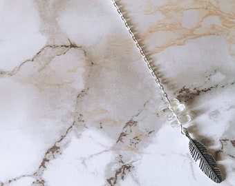 Honey Quartz & Feather Y Necklace