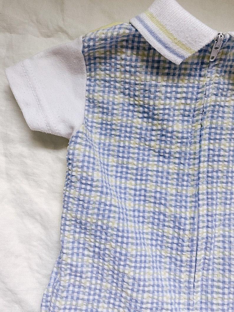 9-12 M Pre-loved Vintage Little Gentleman Yellow /& Blue check boy collared Romper