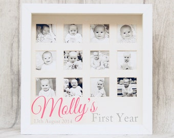 New baby personalised month by month first year milsetone frame baby girl baby boy babies nursery baby shower