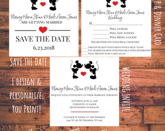 Personalized Save the Date Wedding Invite and RSVP Card with Dinner Choice Matching Set Disney Mickey Minnie Love Engagement