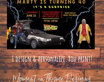 Personalized Back to the Future Marty McFly and Doc Emmett Brown Delorian Birthday Party Invite Invitation Digital Printable