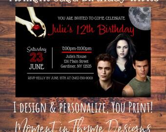 Personalized Twilight Saga Bella Edward Cullen Jacob Birthday Party Invite Invitation Digital Printable