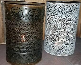 Crazy Dazy's lantern, tin can, candle holder, lamp, flowers, weddings, garden